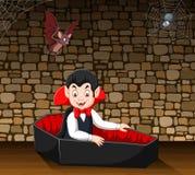 Cartoon happy vampire in his coffin vector illustration