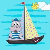 Illustration of a cartoon hippo of a sailor on a ship. Vector illustration. stock illustration