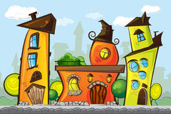 Illustration of cartoon houses. Illustration of bright cartoon houses with green trees stock illustration