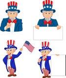 Cartoon illustration of uncle Sam collection set vector illustration