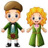 Cartoon Ireland couple wearing traditional costumes Royalty Free Stock Images