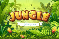 Illustration cartoon jungle with inscription and ribbon Stock Photography
