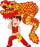 Cartoon kid performing dragon dance. Illustration of cartoon kid performing dragon dance Stock Image