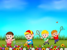 Cartoon kids catching butterfly in the garden. Illustration of Cartoon kids catching butterfly in the garden vector illustration