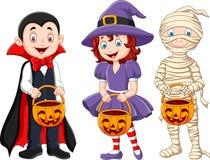 Cartoon kids with halloween costume holding pumpkin basket. Illustration of Cartoon kids with halloween costume holding pumpkin basket Stock Photos