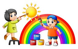 Cartoon kids painting rainbow and sun. Illustration of Cartoon kids painting rainbow and sun Royalty Free Stock Photography
