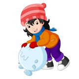 Cartoon kids playing with snow. Illustration of cartoon kids playing with snow Stock Photo