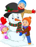 Cartoon kids playing with snowman isolated on white background. Illustration of Cartoon kids playing with snowman isolated on white background stock illustration