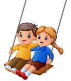 Cartoon kids playing swings on white background. Illustration of Cartoon kids playing swings on white background Royalty Free Stock Photos