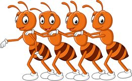 Cartoon line of worker ants vector illustration