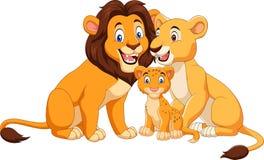 Cartoon lion family isolated on white background royalty free illustration