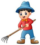 Cartoon little farmer holding a pitchfork Royalty Free Stock Image