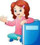 Cartoon little girl with a big book royalty free illustration