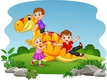 Cartoon little kid playing on the dinosaur royalty free illustration
