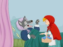 Cartoon little red riding hood and wolf vector illustration