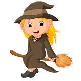 Cartoon little witch flying use a broomstick. Illustration of Cartoon little witch flying use a broomstick Stock Photos