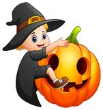 Cartoon little witch with a pumpkin. Illustration of Cartoon little witch with a pumpkin Stock Photos