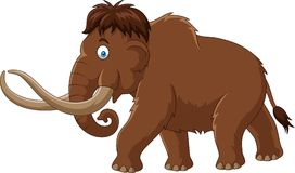 Cartoon mammoth isolated on white background Stock Photos