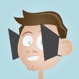 Cartoon man with blinkers Stock Photo
