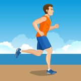 Illustration of a cartoon man jogging, weight loss concept, card Stock Photo