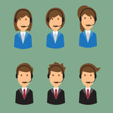 Illustration of an cartoon man and woman call center face with v Royalty Free Stock Photos