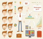 Illustration of cartoon manager. Illustration of cheerful cartoon manager Royalty Free Stock Photos
