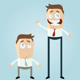 Cartoon men. Illustration of cartoon business men, one tall happy with long legs and the other small sad with short legs isolated on pale blue background Stock Photography