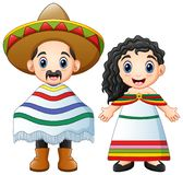 Cartoon Mexicans couple wearing traditional costumes stock illustration