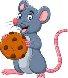 Cartoon mouse holding a cookie. Illustration of Cartoon mouse holding a cookie royalty free illustration