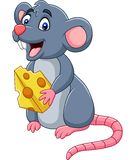 Cartoon happy mouse waving. Illustration of Cartoon mouse holding slice of cheese royalty free illustration