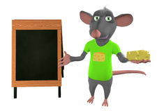 Illustration of a cartoon mouse showing blank Royalty Free Stock Photography
