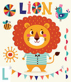 Illustration in cartoon naive style. Alphabet with animal Stock Photo