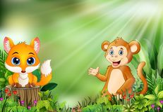Cartoon of the nature scene with a baby fox standing on tree stump and monkey royalty free illustration