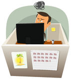 Life In The Cube. Illustration of a cartoon office employee man lifestyle, working frustrated in a boring job in slump time and inside small confined open space Royalty Free Stock Image