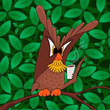 Illustration of cartoon owl EPS10. Illustration of cartoon owl on tree branch eps10 stock illustration