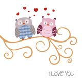 Cartoon owl sitting on the branch. Illustration with cartoon owl sitting on the branch Royalty Free Stock Images