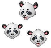 Cartoon panda head set Royalty Free Stock Photography