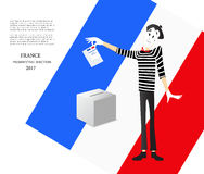 Illustration of a cartoon pantomime of presidential elections of France 2017. Presidential elections in France. Illustration of a pantomime. The ballot Stock Image