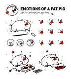 Illustration of a cartoon pig. Vector. Flat outline style. For true connoisseurs of animation. Musical pork. A set of emotions for stock illustration