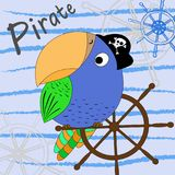 Illustration of a cartoon pirate parrot with a ship`s wheel. Vector illustration. Cartoon print. stock illustration
