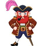 Cartoon Pirate with a smoking pipe stock illustration