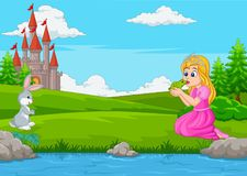 Cartoon a princess kissing a green frog vector illustration