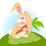 Illustration of cartoon rabbit with carrot Royalty Free Stock Photography