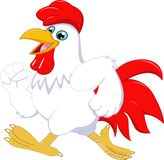 Cartoon Rooster posing isolated on white background stock illustration