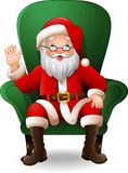 Cartoon santa claus sitting in green armchair on a white background vector illustration