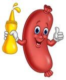 Cartoon sausage holding mustard sauce Royalty Free Illustration