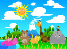 Illustration cartoon of Scene with Wild Animals Gr Stock Images