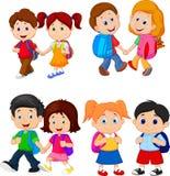 Cartoon school children with backpacks royalty free illustration