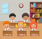 Cartoon school kids raising hand in the classroom royalty free illustration