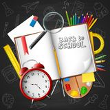Cartoon school and office supplies on chalkboard background. Illustration of Cartoon school and office supplies on chalkboard background Royalty Free Stock Photos